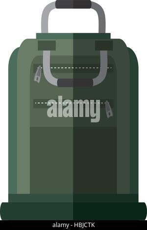 green suitcase packback travel bag tourist shadow vector illustration eps 10 - Stock Photo