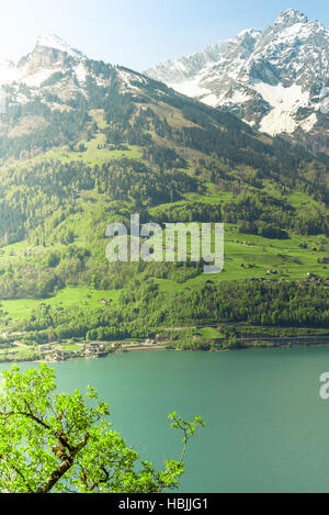 Mountain and lake in the morning landscape - Stock Photo