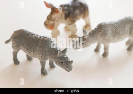 Rhinoceros animal figures - Stock Photo