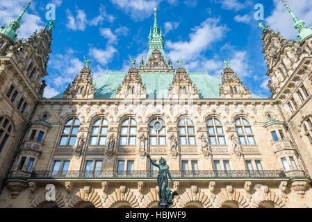 Back side Facade of the City Hall Hamburg - Stock Photo