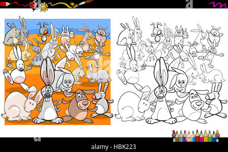 rabbit characters coloring book - Stock Photo