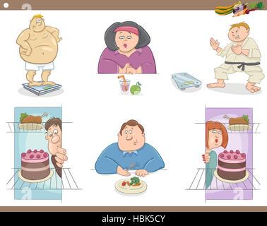 people on diet cartoon set - Stock Photo