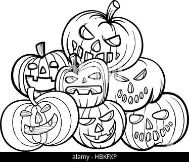 halloween pumpkins coloring book - Stock Photo