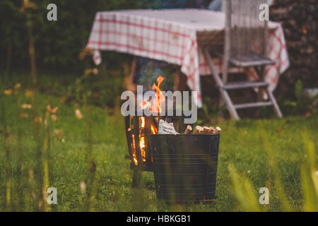 Garden with outside fireplace Stock Photo, Royalty Free Image ...