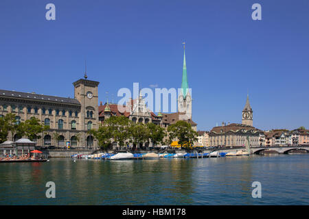 Limmat river and famous Zurich churches - Stock Photo