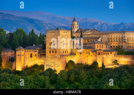 Alhambra Palace at evenig, Granada, Andalucia, Spain - Stock Photo