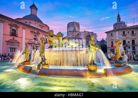 Turia fountain, Plaza de la Virgen, Valencia, Spain - Stock Photo