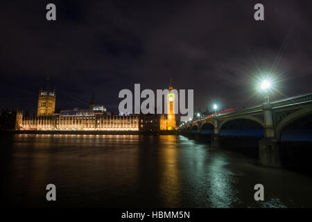 Big Ben and Houses of Parliament at Night, London, United kingdom - Stock Photo