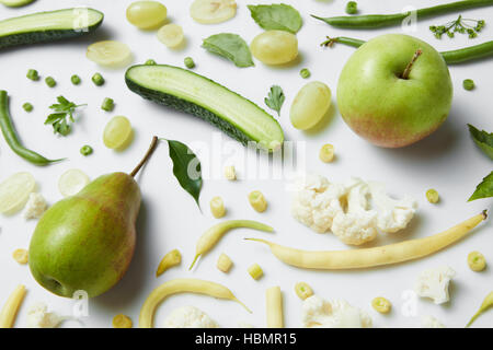 fresh green vegetables and fruits - Stock Photo