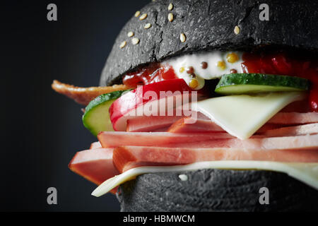 macro Black burger - Stock Photo