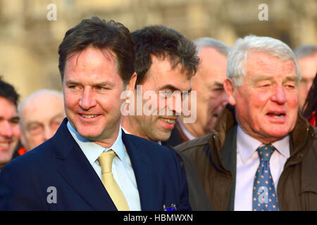 Nick Clegg MP, Tom Brake and Paddy Ashdown (LibDem) at an event on College Green, Westminster.... - Stock Photo