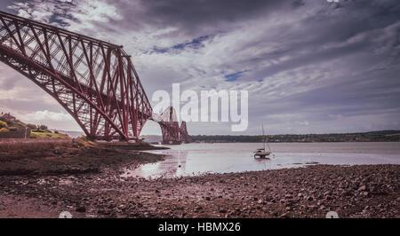 Forth Rail Bridge in Edinburgh - Stock Photo