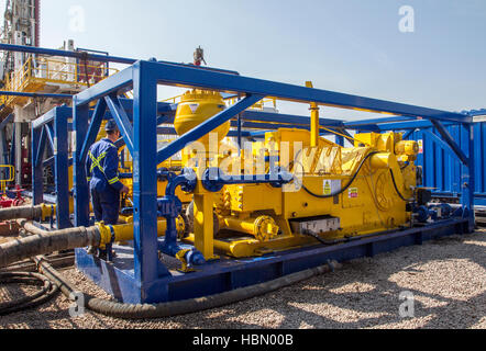 Weir high pressure fracking Pumps at Cuadrilla Resources drilling equipment  at Shale Gas Drill Site,   Weir delivers - Stock Photo