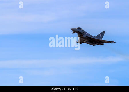 Eurofighter Typhoon Multirole fighter performing extreme manoeuvres at Southport airshow - Stock Photo