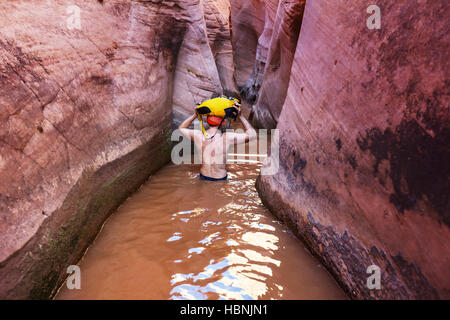 Hike in slot canyon - Stock Photo