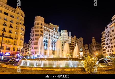 Fountain on the Plaza del Ayuntamiento of Valencia - Spain - Stock Photo