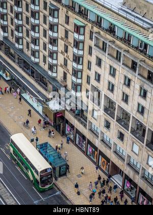 Double decker bus in Edinburgh - Stock Photo