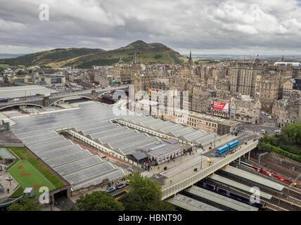 Edinburgh Waverley Train Station panorama - Stock Photo