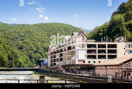 Comfortable hotel in the mountains. - Stock Photo