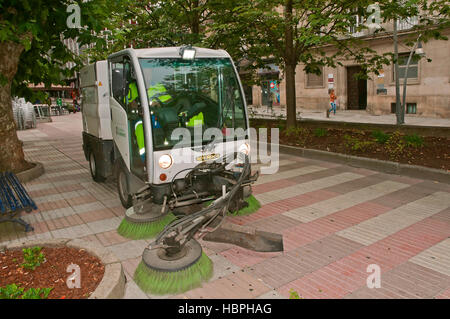 Car sweepers, Municipal Cleaning Services, Orense, Region of Galicia, Spain, Europe - Stock Photo