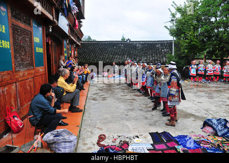 The Matang Gejia Dong Village and its people in Guizhou Province of China are an interesting cultural destination - Stock Photo