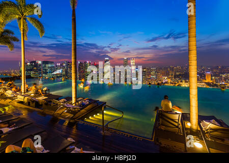 Swimming pool on the roof of luxury hotel with view on ski dubai stock photo royalty free image - Singapur skyline pool ...