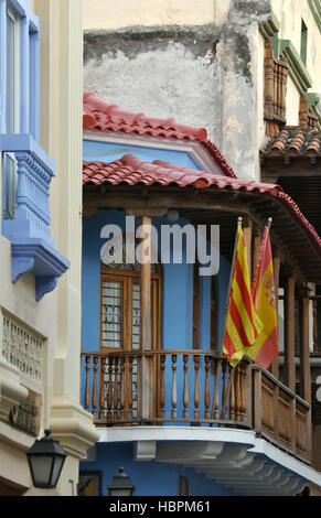Colonial buildings in the historic colonial city of Cartagena, Colombia - Stock Photo