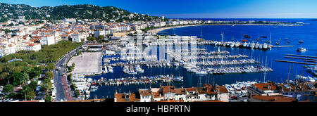 Elevated view of Cannes marina, Cote d'Azur, French Riviera, France - Stock Photo
