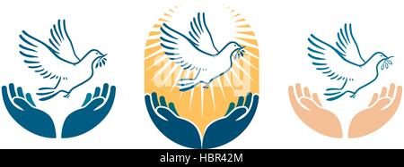 Dove bird carrying olive branch in beak as a peace symbol. Vector logo or icon - Stock Photo