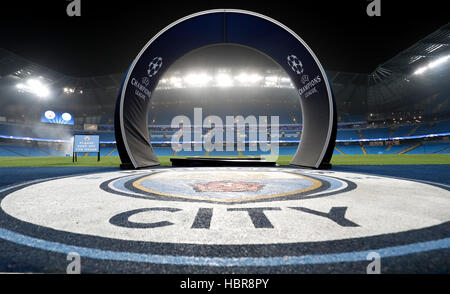 A general view of Manchester City and UEFA Champions League branding in the Etihad prior to kick off the UEFA Champions - Stock Photo