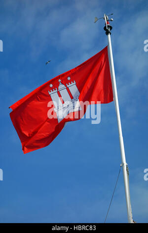 the flag of hamburg, germany - Stock Photo