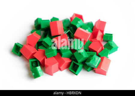 pile of toy houses - real estate concept - Stock Photo