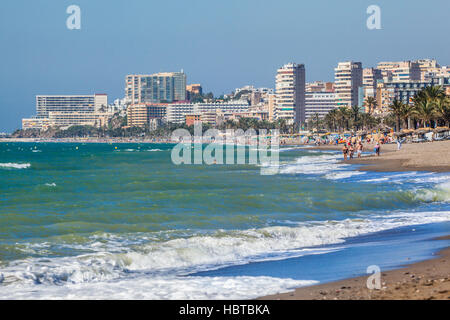 Spain, Andalusia, Province of Malaga, Costa del Sol, view of the hotel-highrise skyline of the Mediterranean resort - Stock Photo