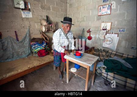 A maya indigenous man at home in Santa Catarina Polopo in Solola, Guatemala. - Stock Photo