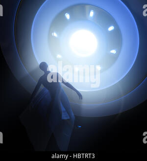 UFO and Abduction - 3D Rendering - Stock Photo