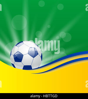 Football card in Brazil flag colors - Stock Photo