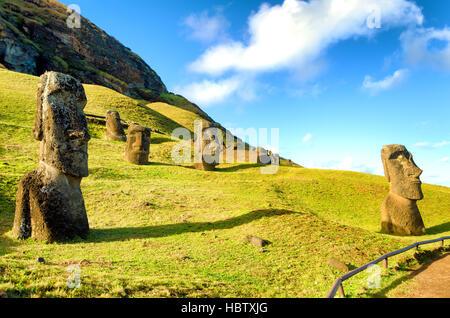 Stone Moai on Easter Island at Rano Raraku in Chile - Stock Photo