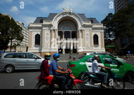 Traffic and historic Municipal Theatre of Ho Chi Minh (aka Saigon Opera House), Ho Chi Minh City (Saigon), Vietnam - Stock Photo