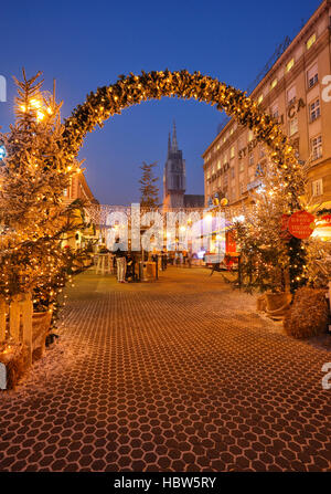 Illuminated and decorated Zagreb city in Christmas time - Stock Photo