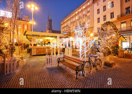 Decorated and illuminated Jelacic square at Christmas time in Zagreb city - Stock Photo
