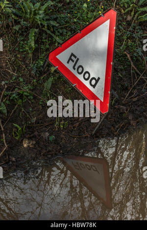 Flooded country lane near the mid-Cornwall town of Lostwithiel. Metaphor for Flood Alert, flood prone areas. - Stock Photo