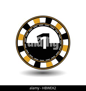 chips for poker yelloy a suit one figure and a white dotted line the line. an icon on the white isolated background. - Stock Photo