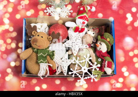 bunch  of christmas toys in a box - Stock Photo