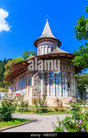 The Voronet Monastery, Romania. One of Romanian Orthodox monasteries in southern Bucovina. - Stock Photo