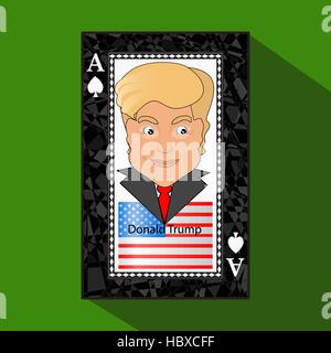 Icon a vector illustration an ace the playing card a victory to win Donald Trump the combination. American flag. - Stock Photo