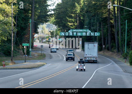Welcome to North Bend sign on Highway 101, North Bend, Oregon. - Stock Photo