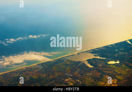 Aerial photo of the landscape coast around the bay - Stock Photo