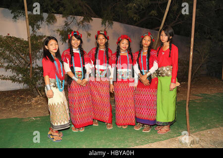 A group of Nishi tribal female dancers from Arunachal Pradesh, India standing in their traditional dance costumes - Stock Photo