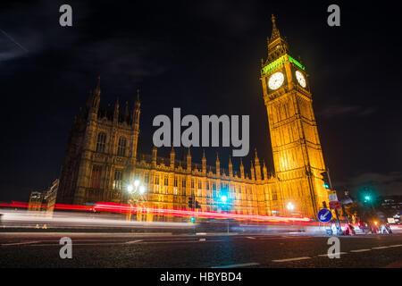 Night image of London's famous Big Ben - Stock Photo