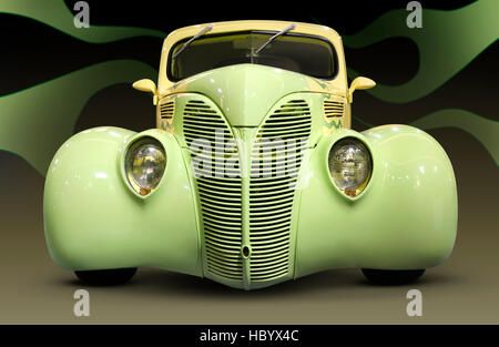 Yellow green Hot Rod Ford Coupe 1938 retro car with flame pattern painted on it, front view - Stock Photo